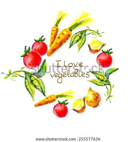 watercolor vegetables � I love vegetables, circle frame #255577636