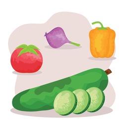 watercolor vegetarian food set icons