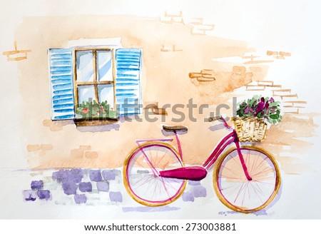 watercolor vintage bicycle