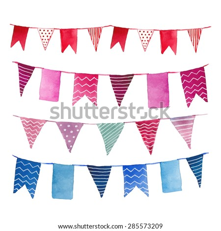 watercolor vintage flags