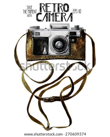 Watercolor vintage SLR camera in leather case. Front view. Vector illustration isolated on white background