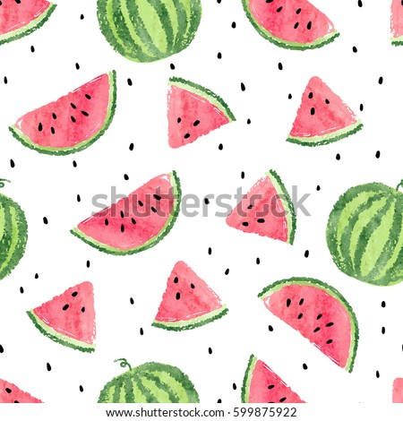 watercolor watermelons pattern