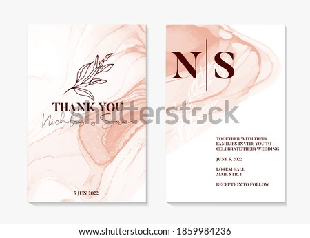 Watercolor wedding invitation. abstract painting shapes , pink rustic boho invitation template, floral frame. Elegant floral save the date card, rsvp invite in vector