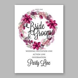Watercolor wedding invitation floral wreath Vector