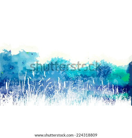 watercolor white and blue