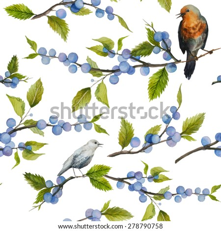 watercolor wild berries and