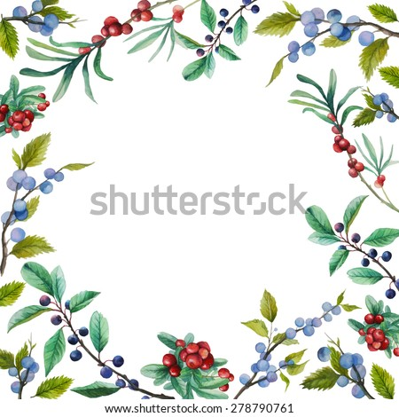 watercolor wild berries frame