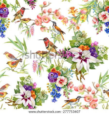 Watercolor Wild exotic birds on flowers seamless pattern on white background vector illustration