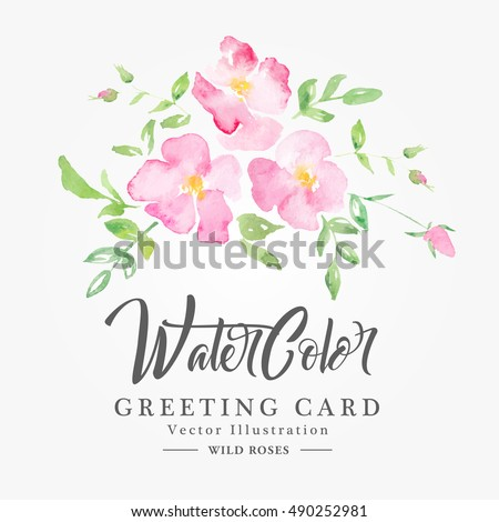 watercolor wild roses   floral