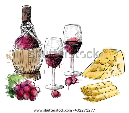 Watercolor wine and cheese frame. Vector vintage still life.  Hand drawn illustration. Design elements: glass, bottle, corkscrew, cork, grape.