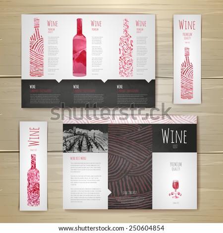 Watercolor Wine concept design. Corporate identity. Document template