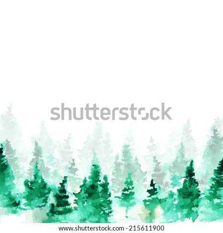 watercolor winter forest  vector