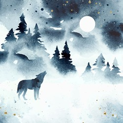 Watercolor winter magic vector landscape isolated on white dackground. Vector silhouette of wolf howling at the full moon. Forest and animal under night sky