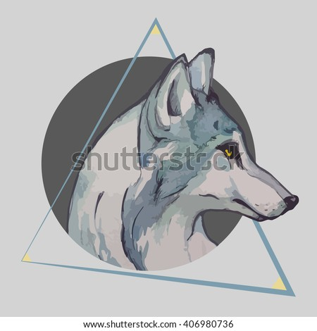watercolor wolf with geometric