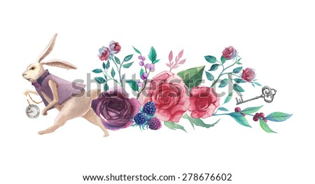 Watercolor wonderland banner. Hand drawn vintage art work with white rabbit, roses, silver key and berry branch. Vector floral illustration isolated on white background