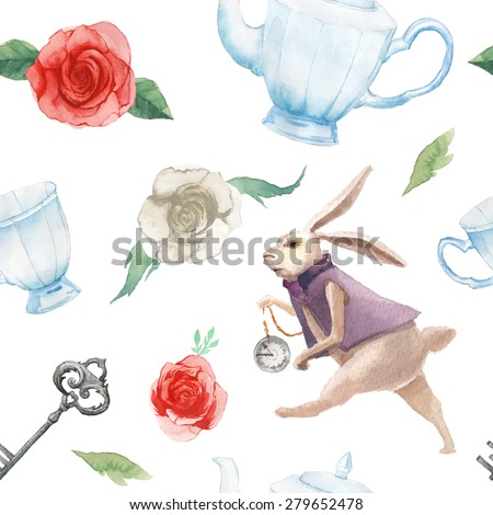 Watercolor wonderland seamless pattern. Hand drawn vintage wallpaper with white rabbit, white and red roses, silver key teapot and cup. Vector fairy tale background