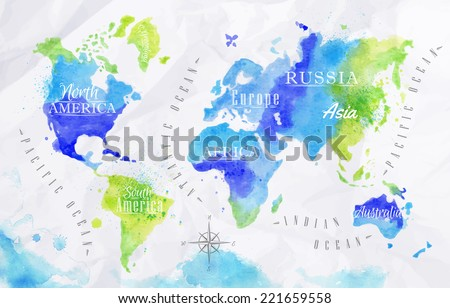 Free watercolor world map vector download free vector art stock watercolor world map in vector format in green and blue colors on a background of crumpled gumiabroncs Gallery