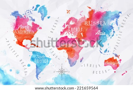 Free watercolor world map vector download free vector art stock watercolor world map in vector format in pink and blue colors on a background of crumpled gumiabroncs Images