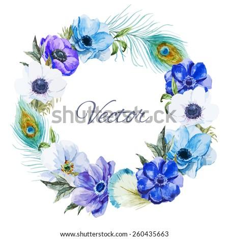 watercolor  wreath frame