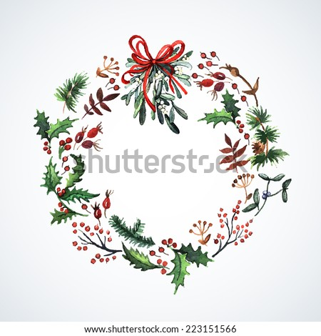Watercolor wreath with Christmas plants Watercolor Christmas decor Ideal for design Christmas gifts and scrapbooking Illustration for greeting cards invitations and other printing projects