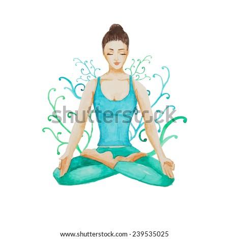 watercolor yoga girl hand