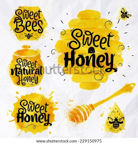 Watercolors honey symbols honeycomb, beehive, spot, keg with lettering