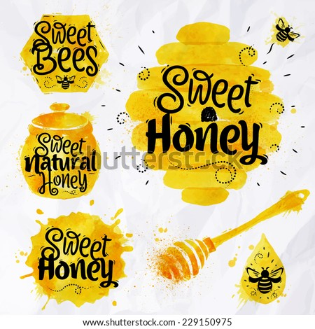 Watercolors of symbols on the topic of honey, honeycomb, beehive, spot, the keg with lettering