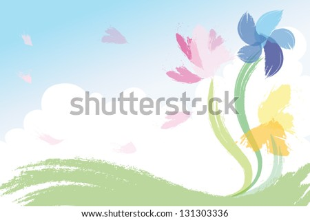 Watercolour painted spring flowers against blue sky and white cloud background vector illustration