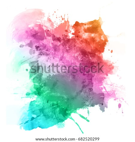 watercolour splatter in rainbow