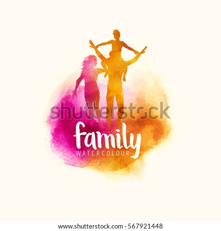 watercolour style family, Parents having fun with their child. vector illustration - Shutterstock ID 567921448