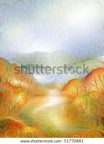 Watercolour-stylize d vector of a calm autumn scenery - small path winding between red bushes (AI-optimized EPS 8 file, other landscapes are in my gallery) - stock vector