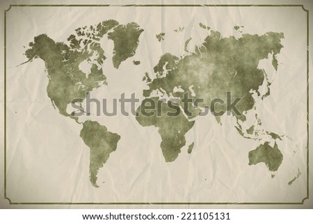 watercolour world map on aged ...