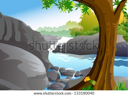 Waterfall - A landscape, rocks and woods.