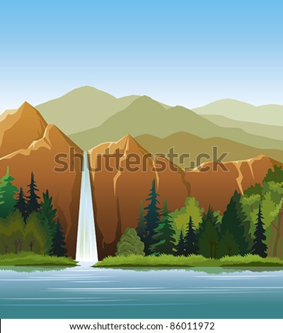 waterfall and green forest on a