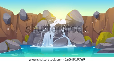 Waterfall cartoon illustration. River stream flowing throw rocks to mountain lake. Vector landscape of cascade falling water, stones and bushes in park, jungles or garden Stock photo ©
