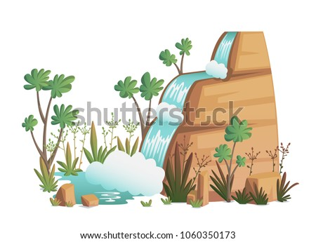 waterfall cartoon landscapes
