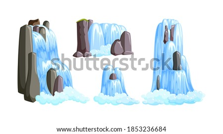 waterfall cascades in mountains