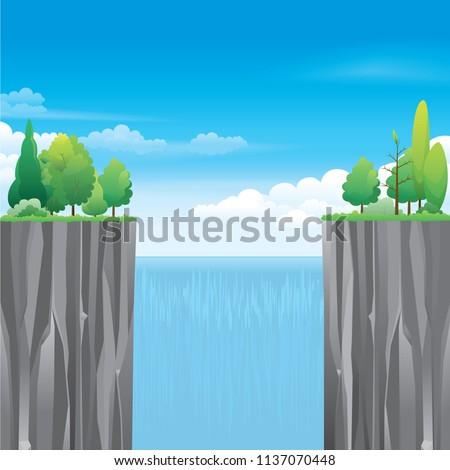 waterfall cliff landscape