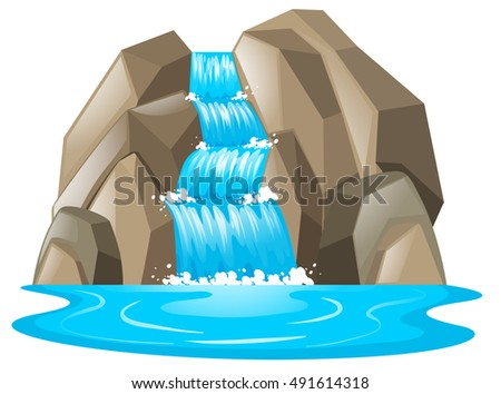 Waterfall from the mountain illustration