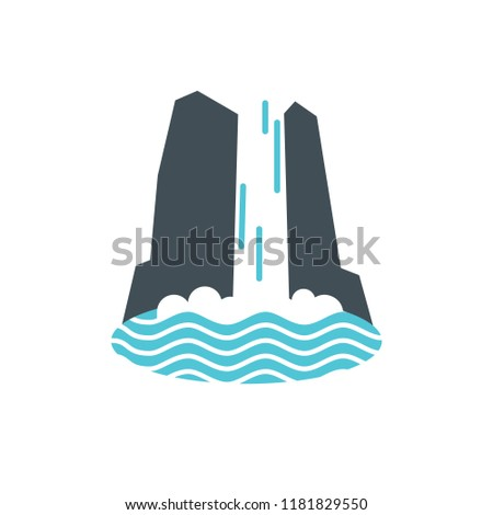 waterfall icon with water