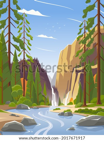 Waterfall in a national park in the United States. Landscape of a forest in a park. Panorama of a river and forest in a national park in Canada. Beautiful landscape. Vector illustration. EPS 10