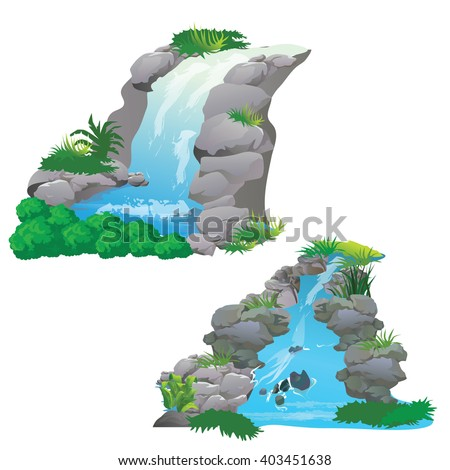 waterfall in jungle vector