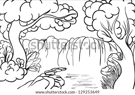 Imagenes de paisajes de cascadas para colorear imagui for Waterfall coloring page