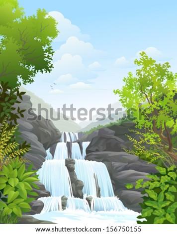 waterfall in tropical rain