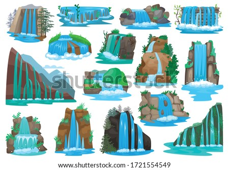 waterfall isolated cartoon set