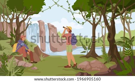 waterfall jungle landscape and