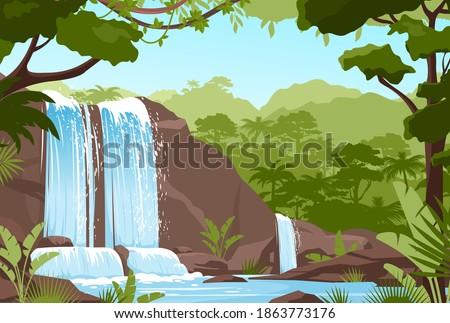 waterfall jungle landscape