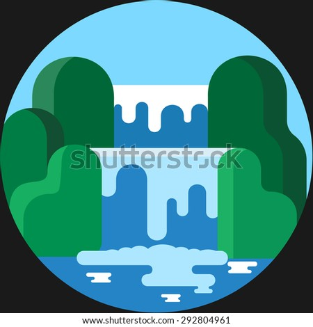 Waterfall Landscape.Vector Flat illustration