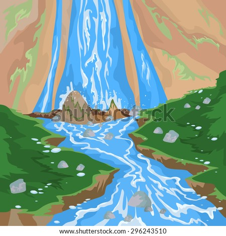 Waterfall scene,nature landscape vector background