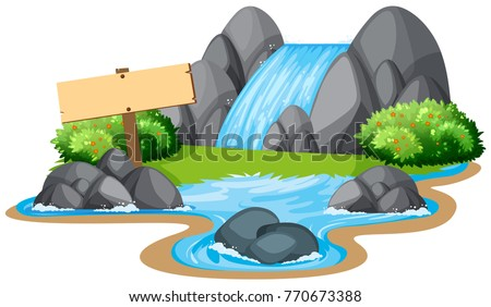 Waterfall, sign in nature
